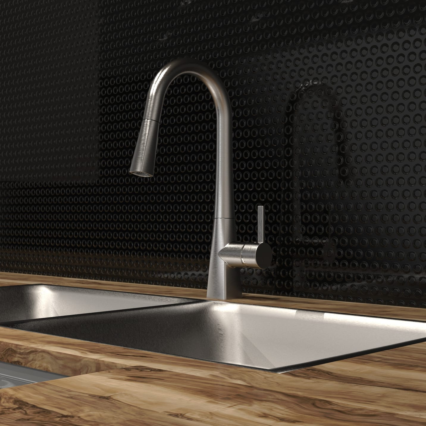 Kitchen Sink Faucet with Swivel Pull-Out Spout and Push Button ...