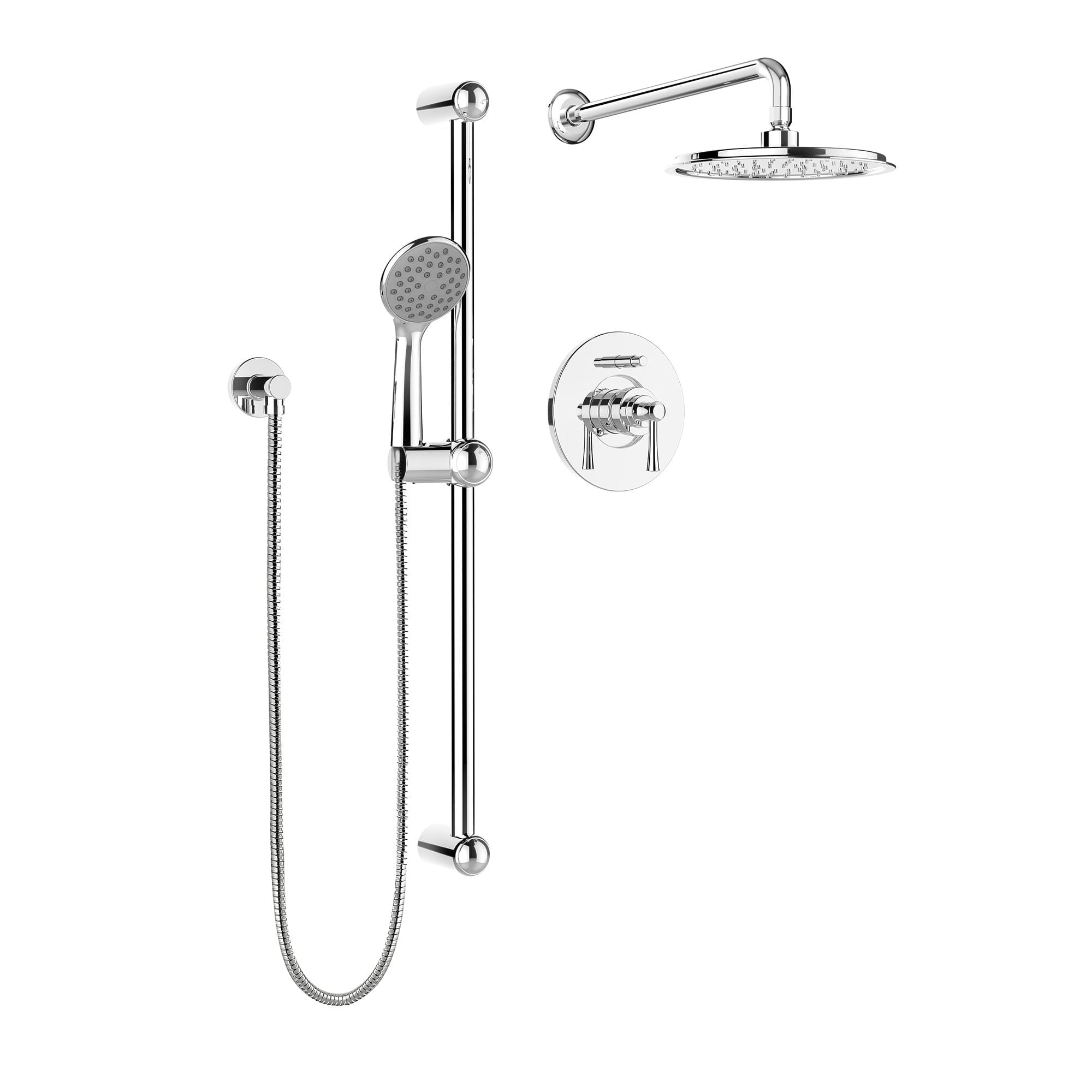 Kit: Shower Faucet   Complete Model With Pressure Balanced Diverter Valve,  Hand Shower Sliding Bar And Shower Head   Bélanger UPT