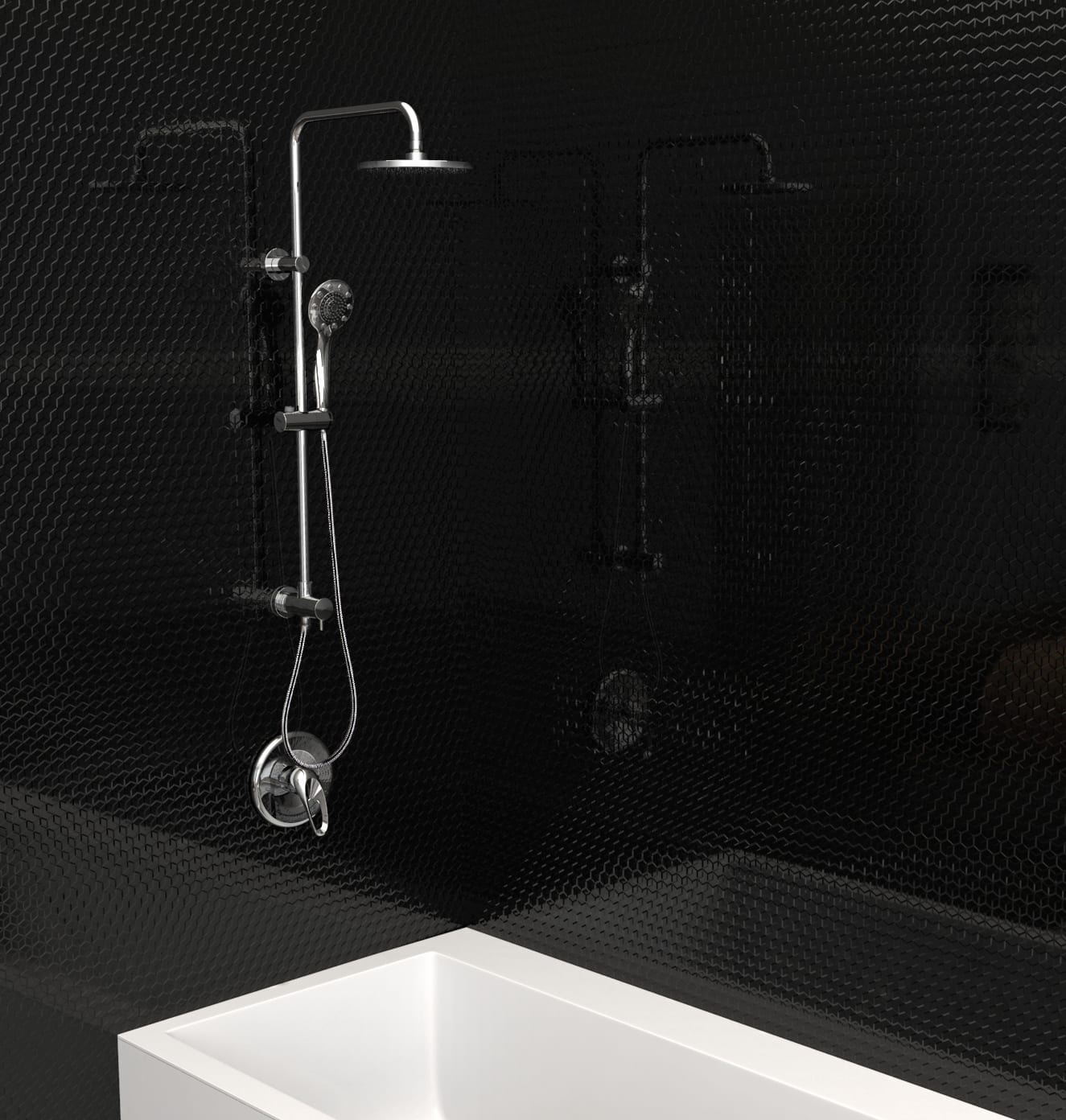 Shower Faucet - Retrofit model // Slide Bar Mounted Hand and Fixed ...