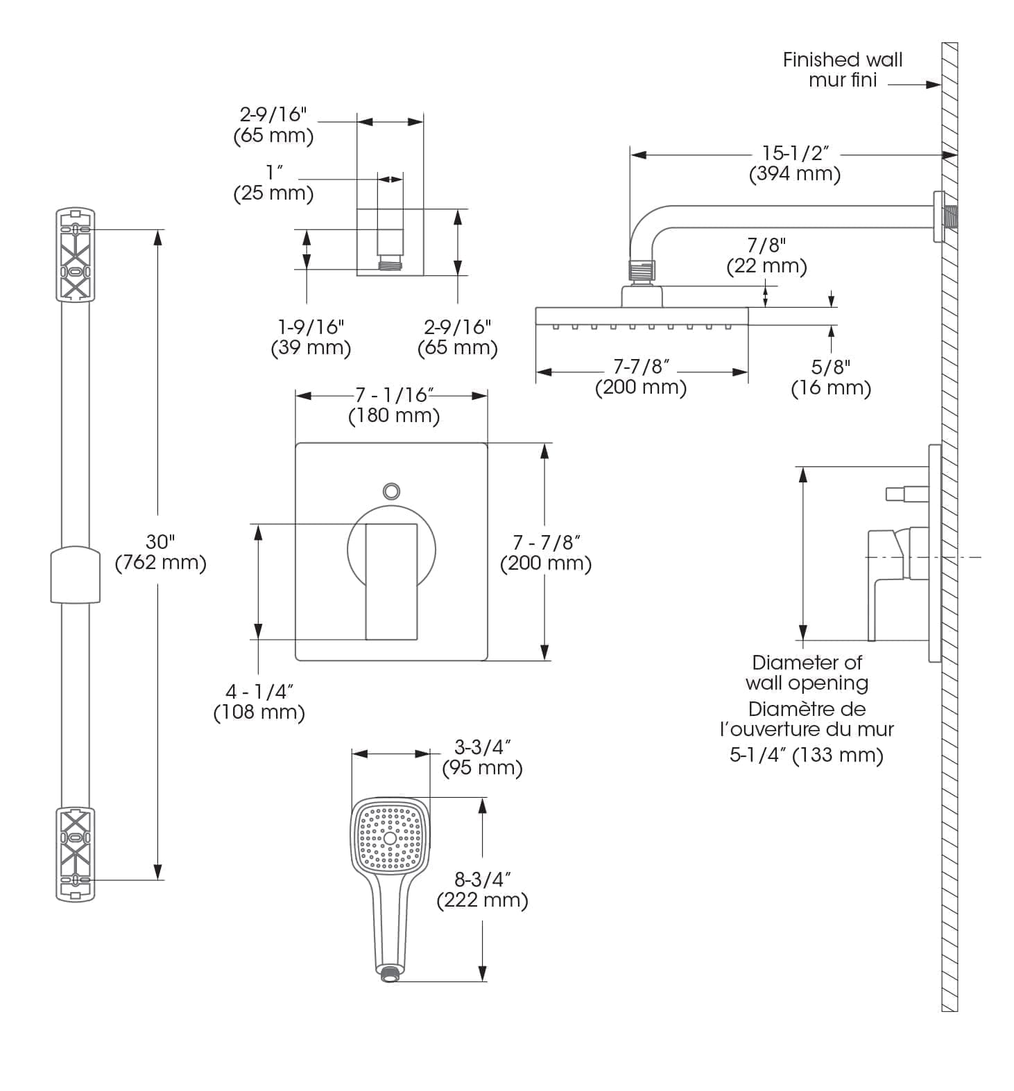 Kit Shower Faucet Complete Model With Pressure Balanced