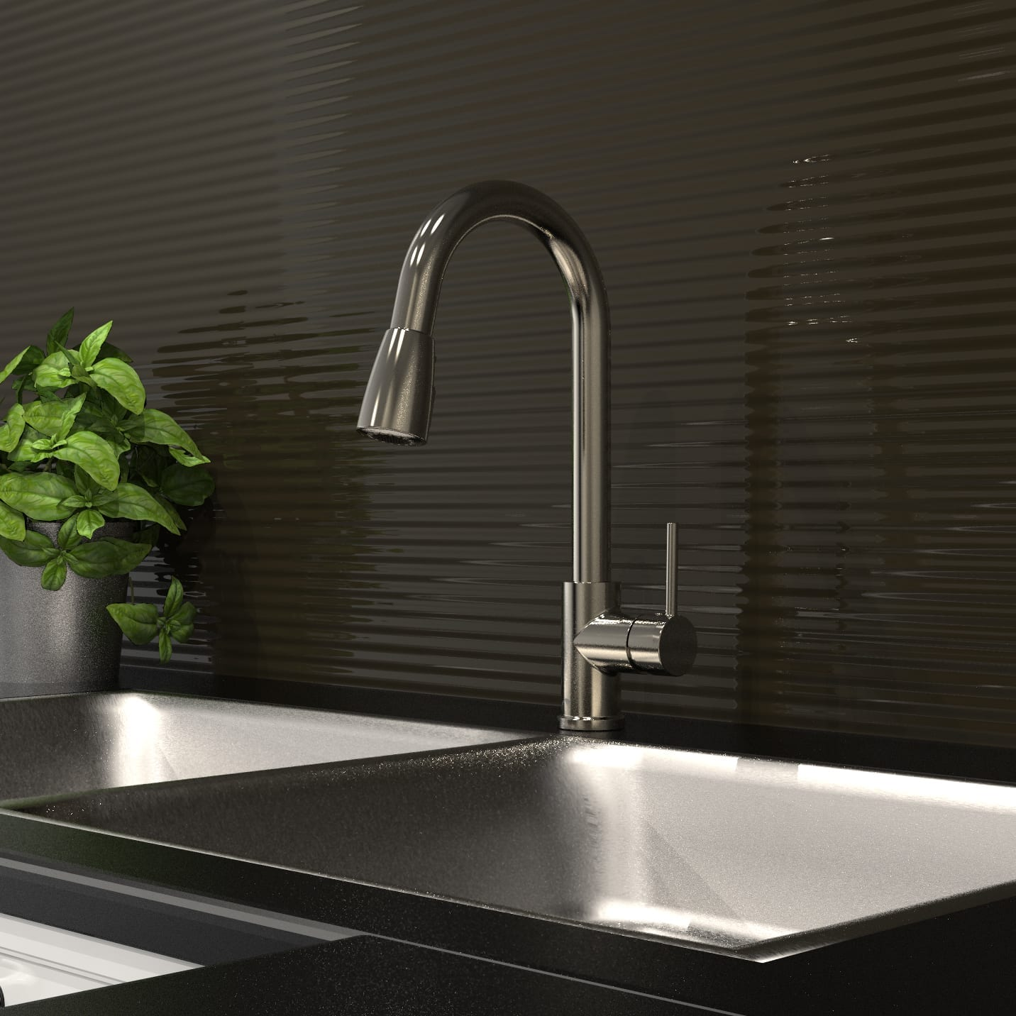 Kitchen Sink Faucet with Swivel Pull-Down Spout // Pause Button ...